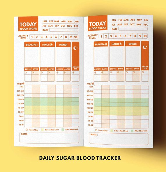 Diabetes Food Diary Printable New Blood Sugar Tracker Tn Insert Type 1 Diabetes Planner