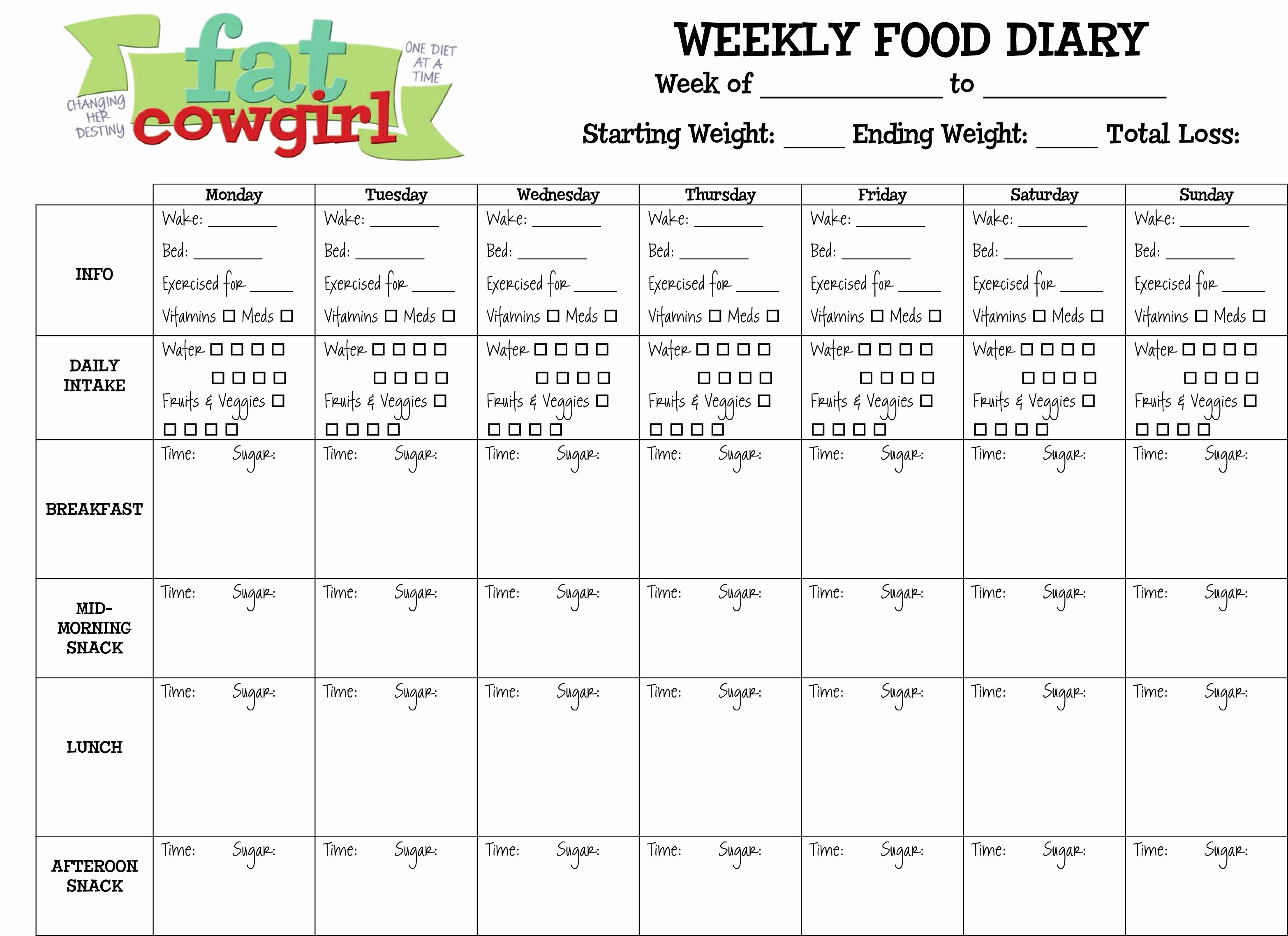 Diabetes Food Diary Printable Unique Diabetic Weekly Food Diary