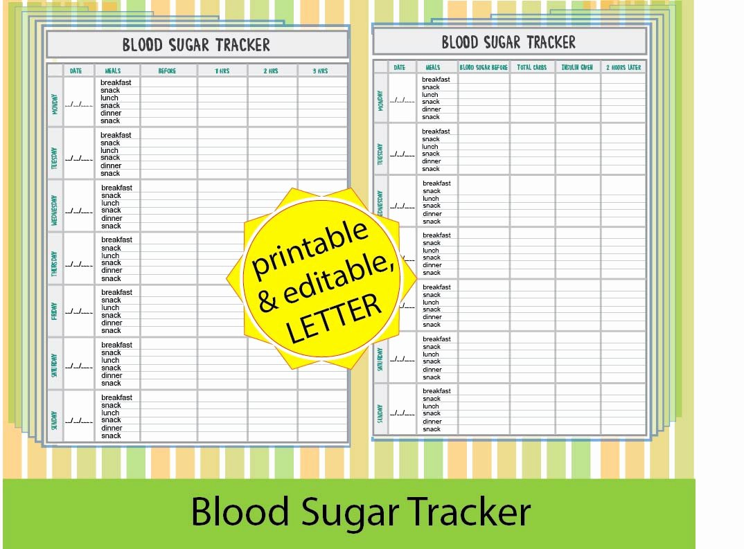 Diabetes Tracking Chart Printable Beautiful Blood Sugar Trackerblood Sugar Log Diabetic Printable