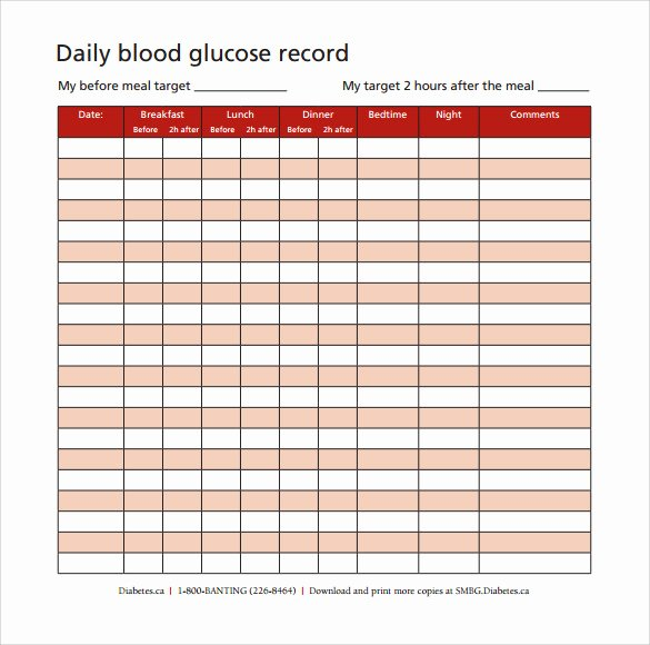Diabetes Tracking Chart Printable Fresh Sample Blood Glucose Chart 9 Free Documents In Pdf