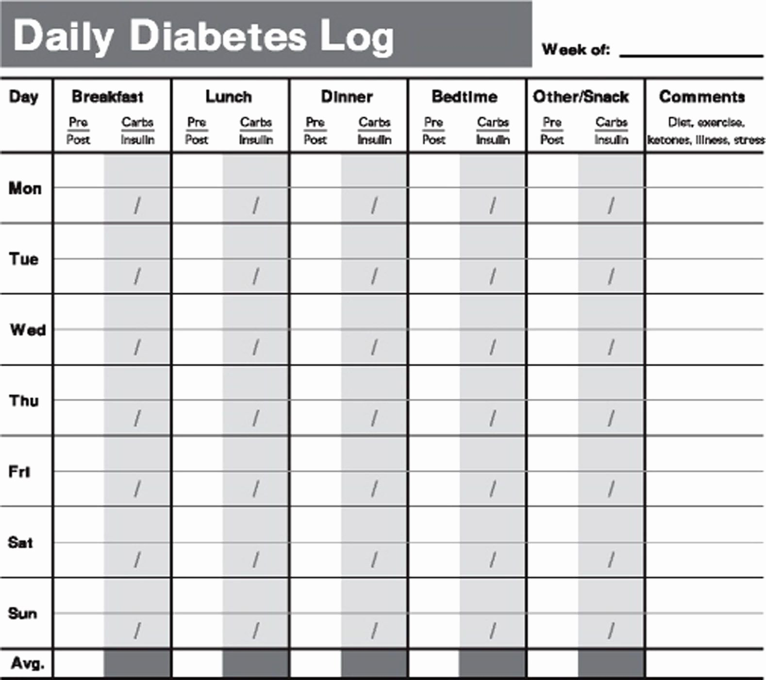 Diabetic Food Journal Template Inspirational Printable Diabetes Testing Log Book