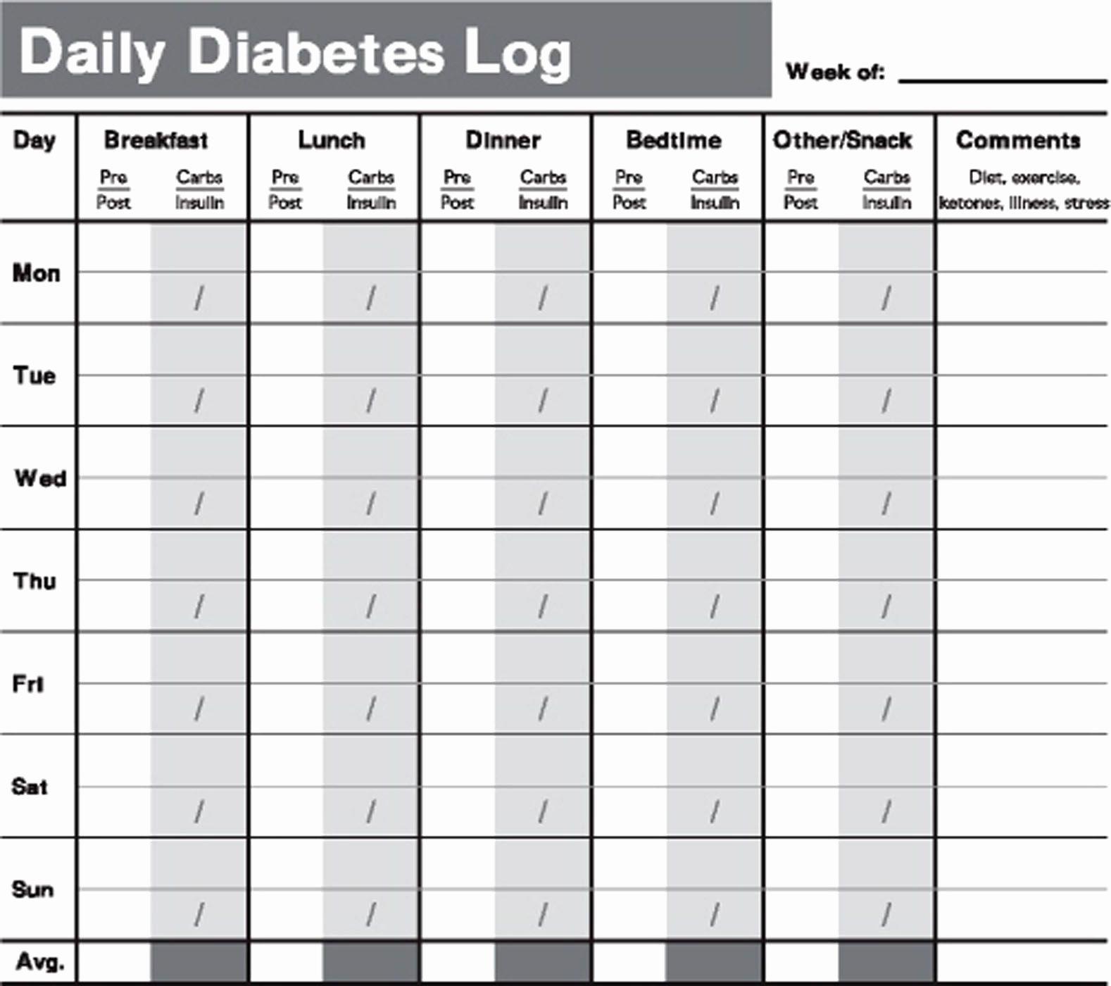 Diabetic Food Journal Template Inspirational Printable Diabetes Testing Log Book