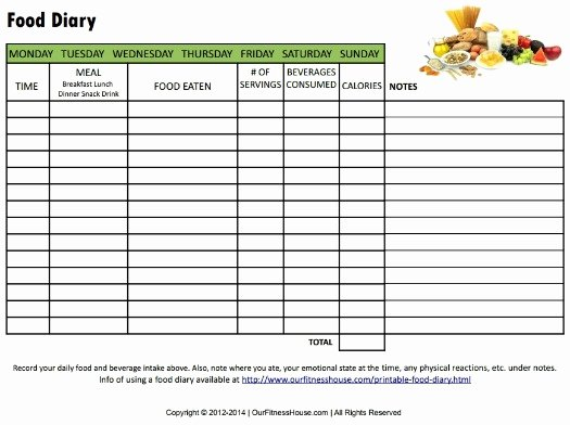 Diabetic Food Journal Template Inspirational Printable Food Diary to Monitor What You Eat
