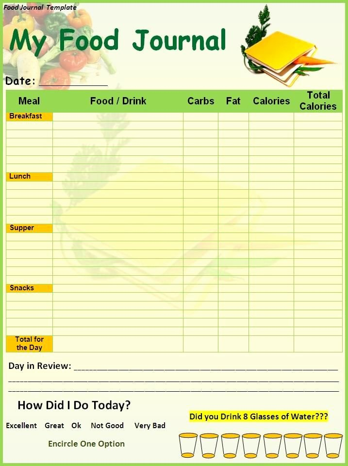 Diabetic Food Journal Template Unique Food Diary Template Printable