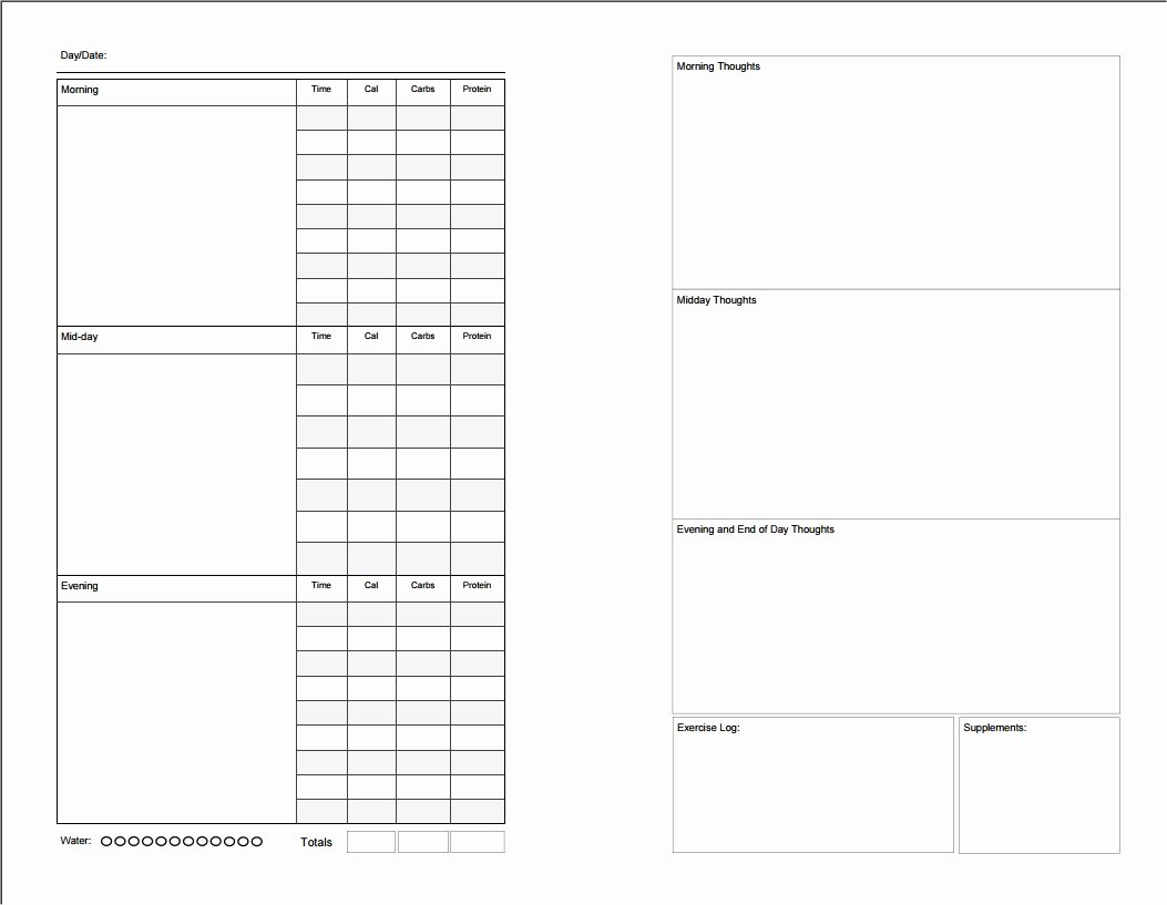 Diabetic Food Journal Template Unique Printable Food Diary