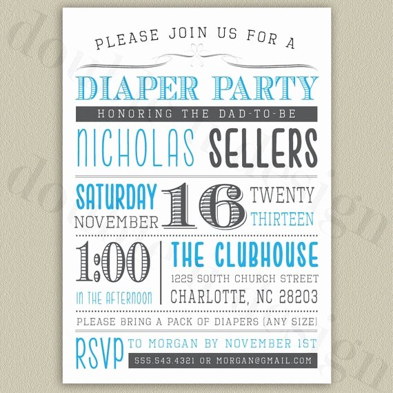 Diaper Invitation Template Free Inspirational Diaper Party Printable Invitation with Color by Doubleudesign