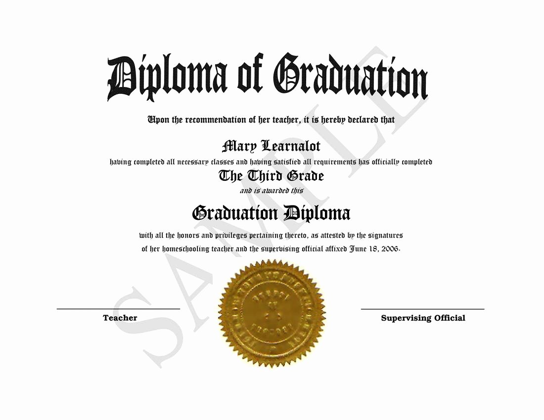 Diploma Templates Free Printable Lovely Homeschooling Diplomas Quick Easy Template for Home