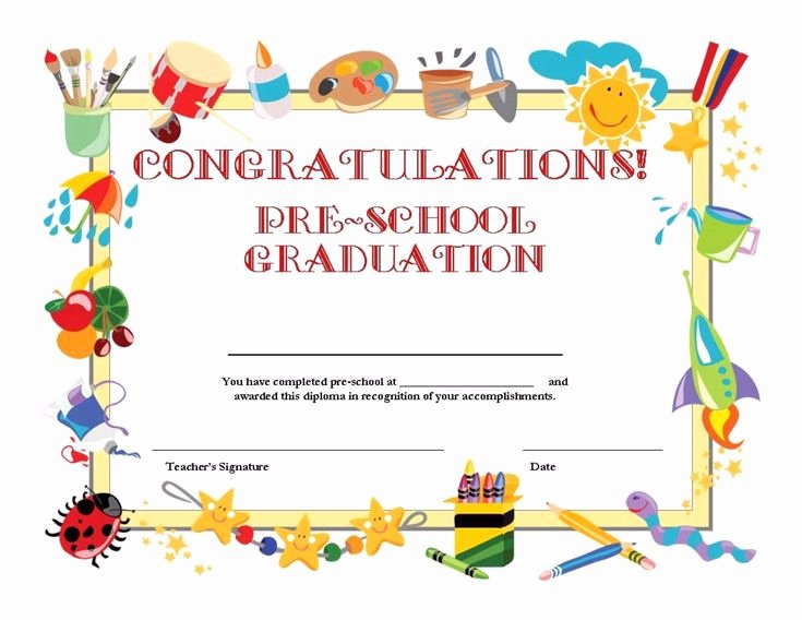 Diploma Templates Free Printable Luxury Free Printable Pre School Graduation Certificate