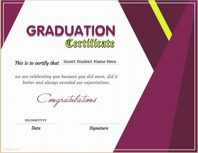 Diploma Templates Free Printable Luxury Graduation Certificate Templates for Ms Word