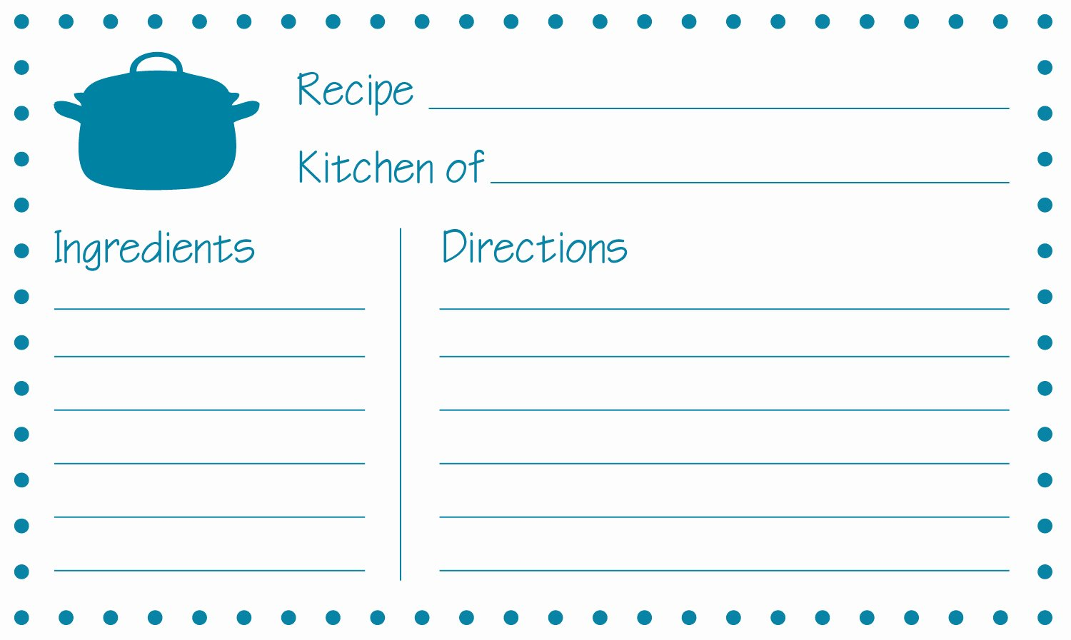 Direction Card Template Microsoft Word Fresh Free Printable Recipe Cards