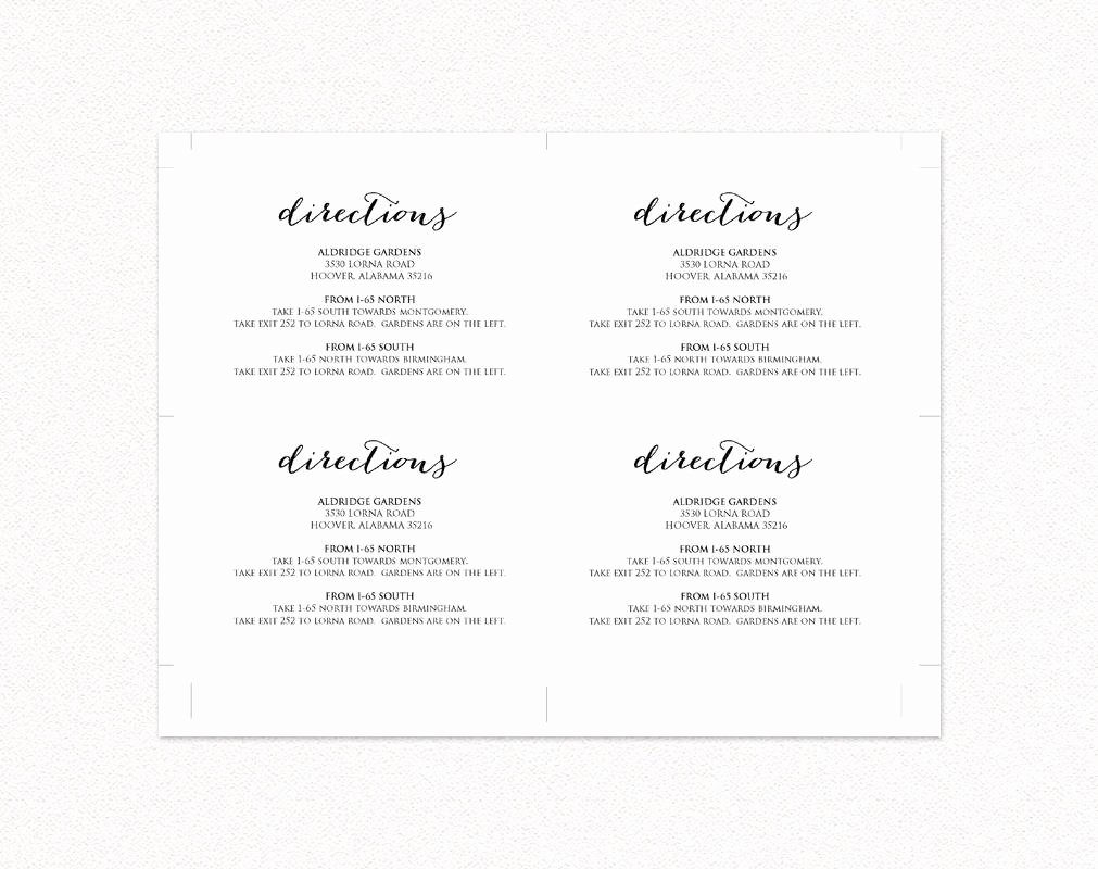 Direction Card Template Microsoft Word Inspirational Wedding Directions Card · Wedding Templates and Printables