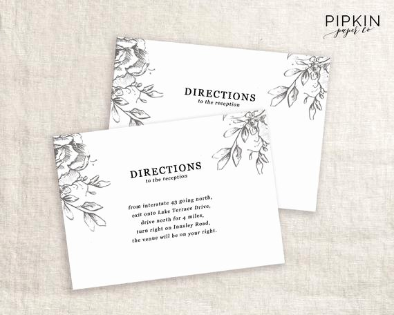 Direction Card Template Microsoft Word Luxury Wedding Directions Card Template Printable Wedding