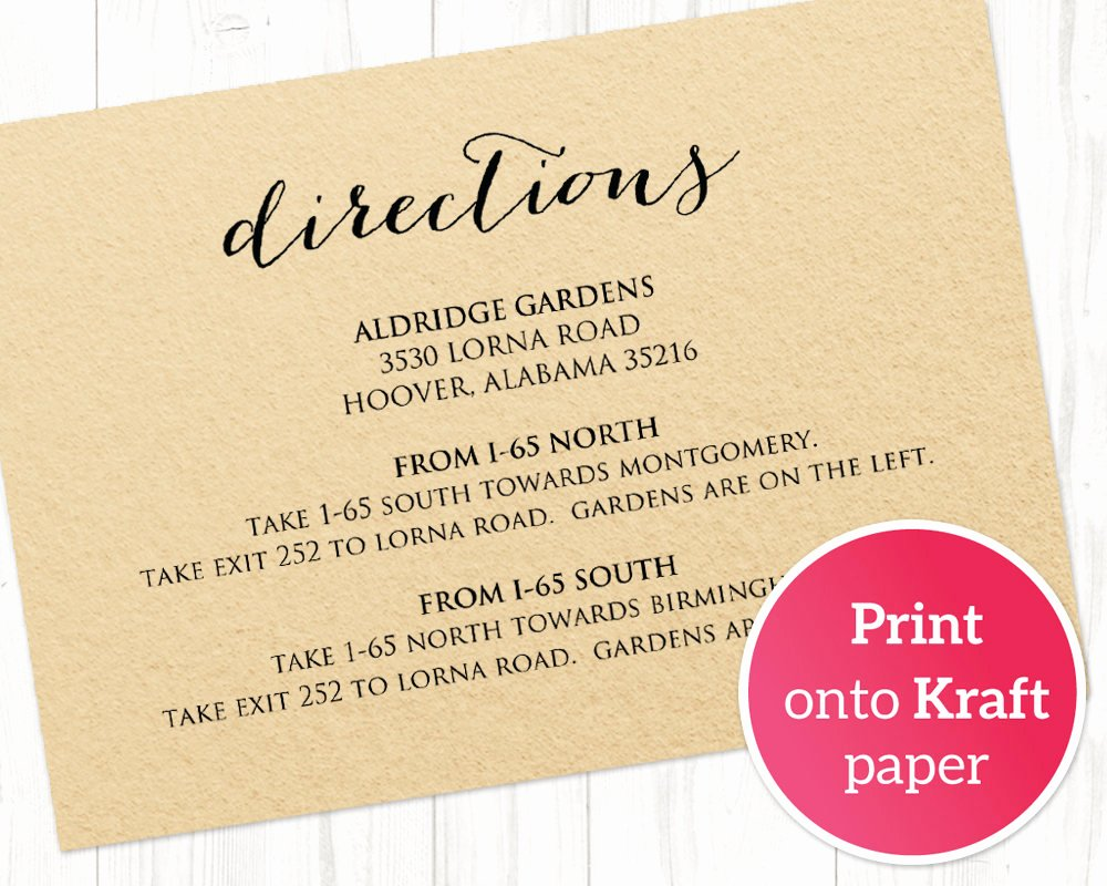 directions card insert wedding direction details card template diy details template