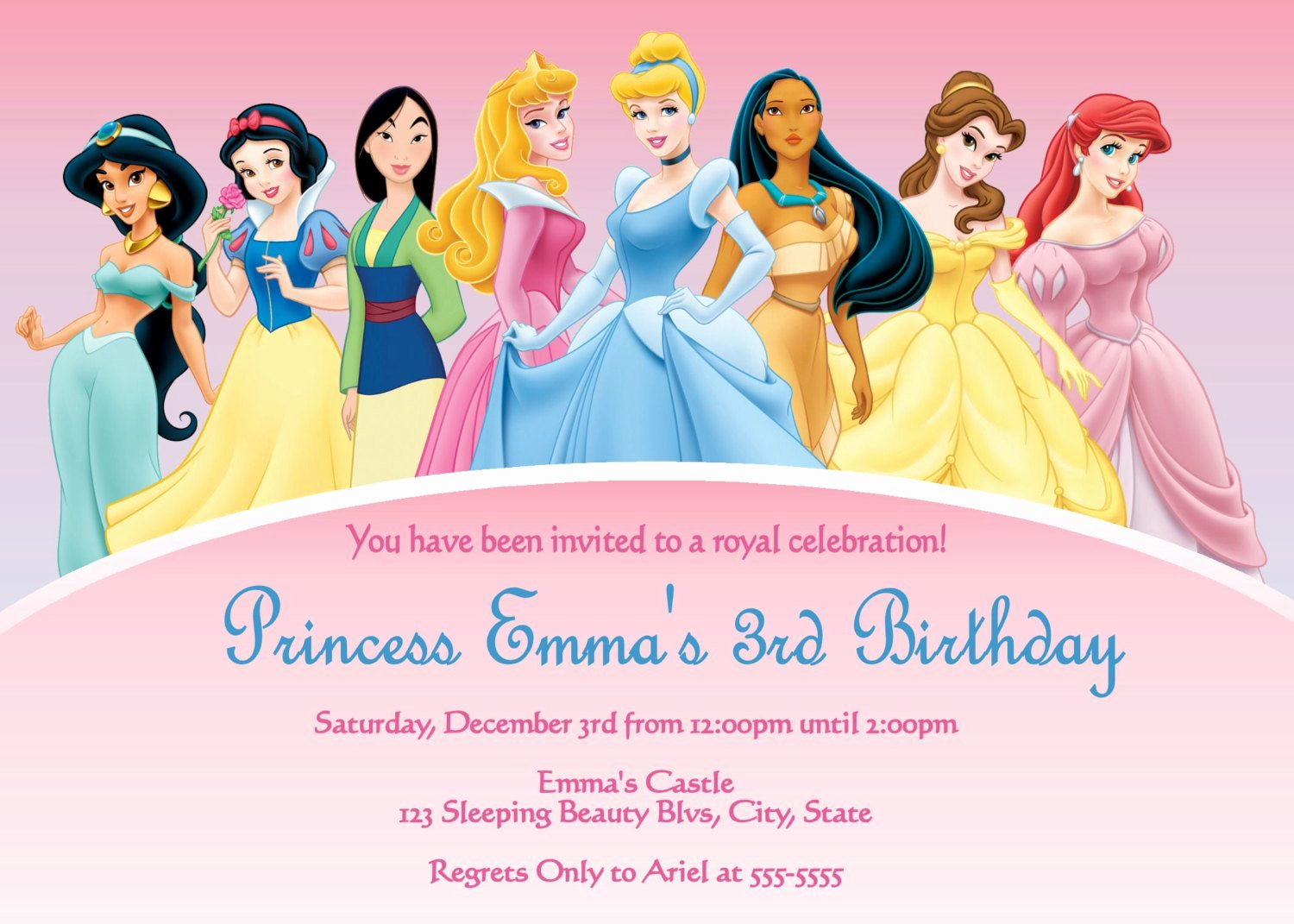 Disney Princess Invitation Templates Free Beautiful Disney Princesses Birthday Invitations Disney Princess