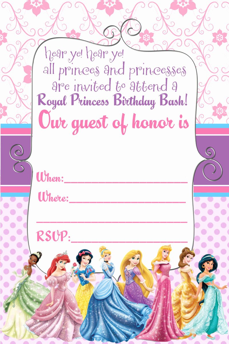 Disney Princess Invitation Templates Free Best Of Free Printable Disney Princess Birthday Invitations