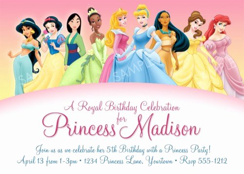 Disney Princess Invitation Templates Free Elegant Disney Princess Birthday Invitations Ideas – Bagvania Free