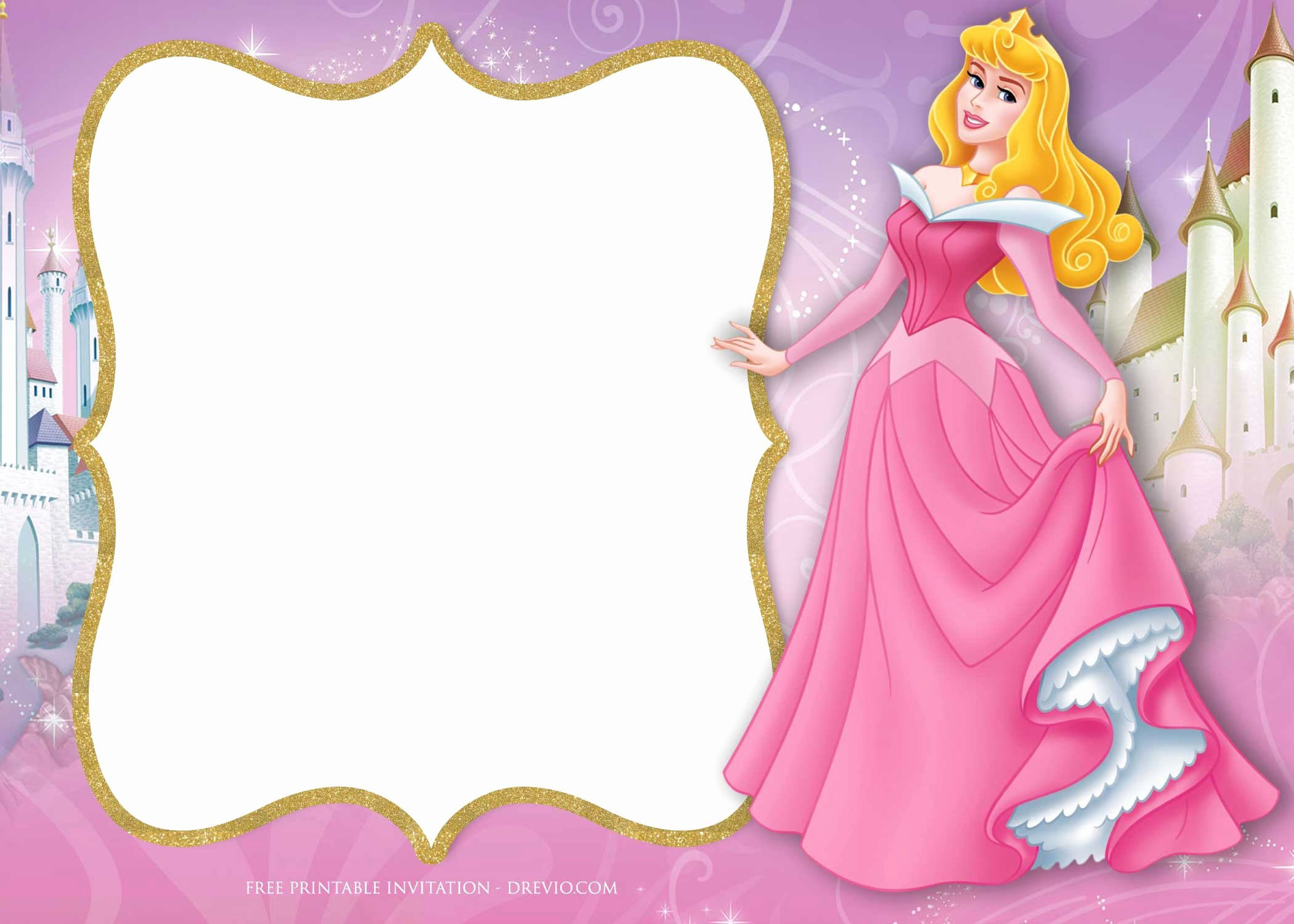 Disney Princess Invitation Templates Free Lovely Free Princess Aurora Birthday Invitation Template