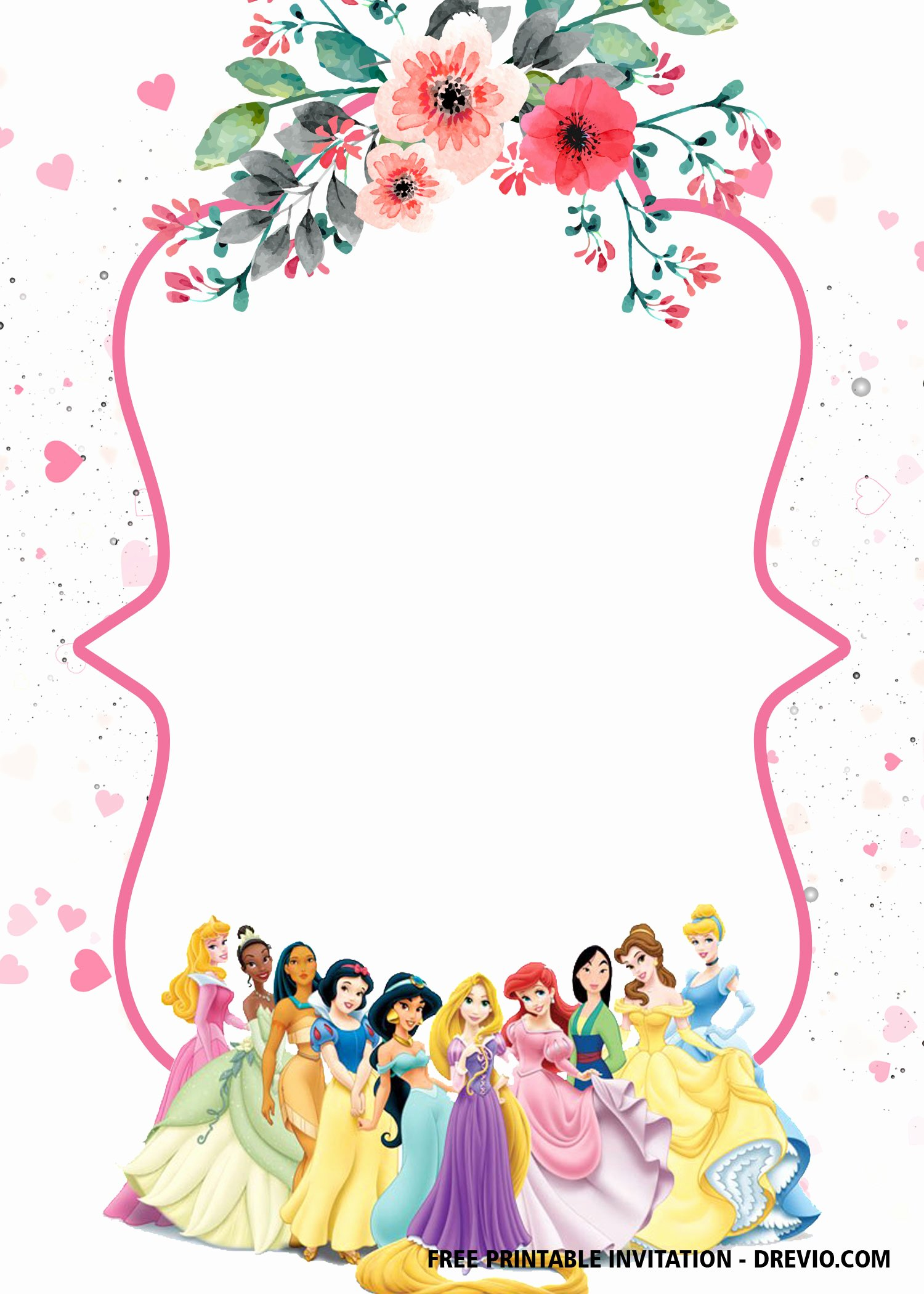 Disney Princess Invitation Templates Free Luxury Free Printable Disney Princesses Invitation Templates