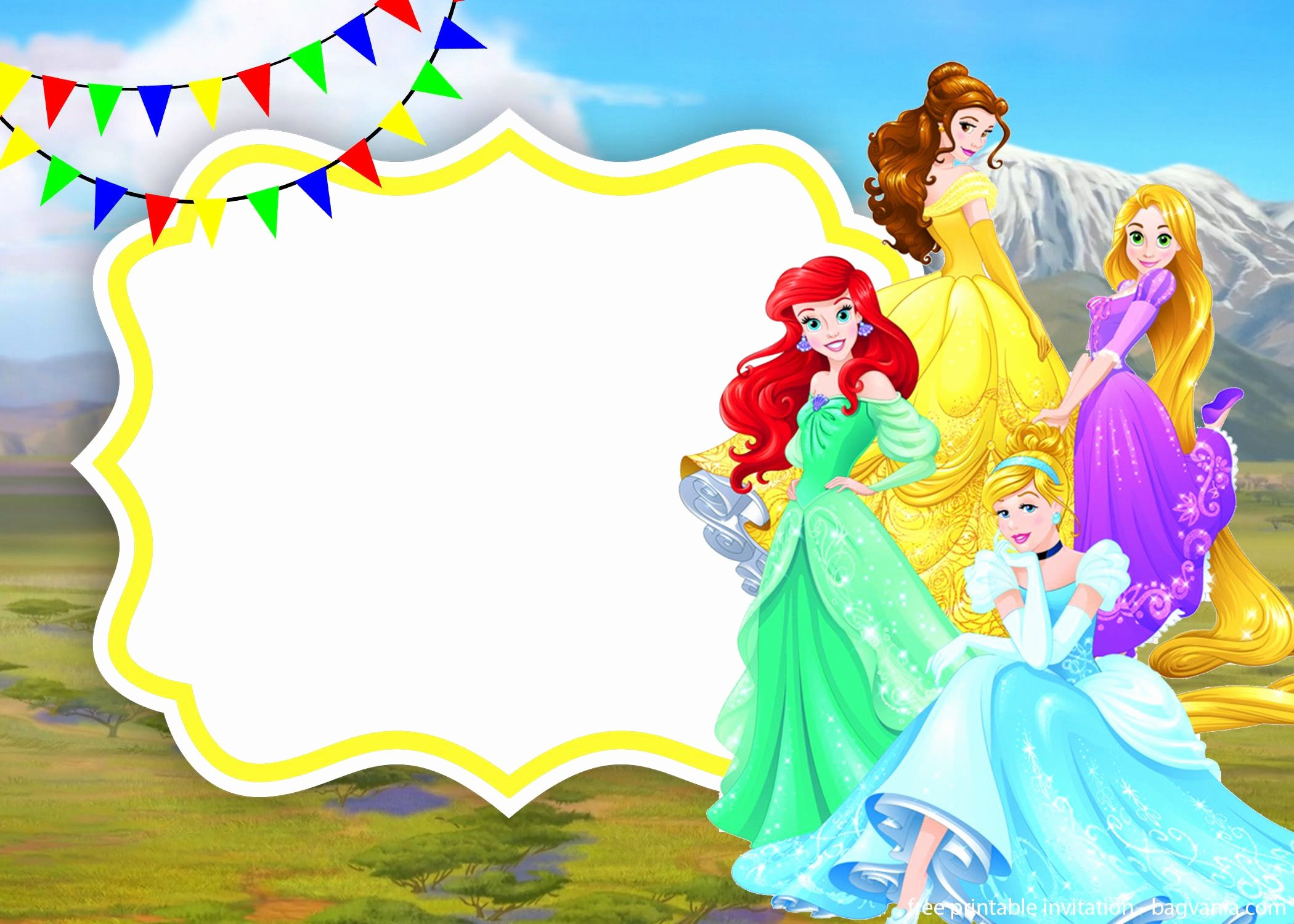 Disney Princess Invitation Templates Free Luxury Golden Disney Princesses Invitation Template – Free