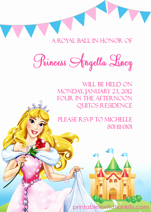 Disney Princess Invitation Templates Free New Disney Princess Aurora Sleeping Beauty Invitation