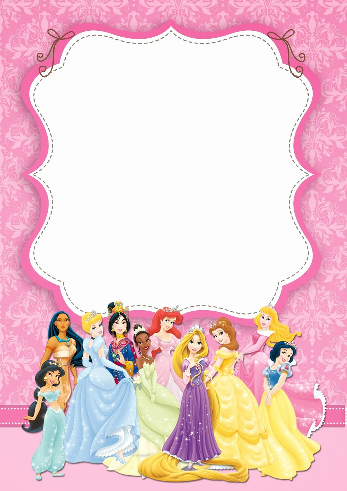 Disney Princess Invitation Templates Free New Free Printable Disney Princess Ticket Invitation Template