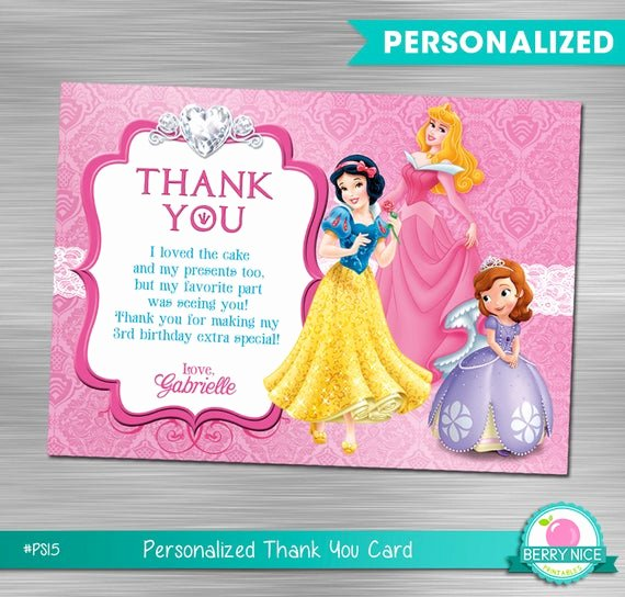 Disney Printable Birthday Cards Awesome Disney Princess Thank You Card Princess Birthday Princess