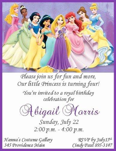 Disney Printable Birthday Cards Beautiful Disney Princesses Personalized Birthday Invitations