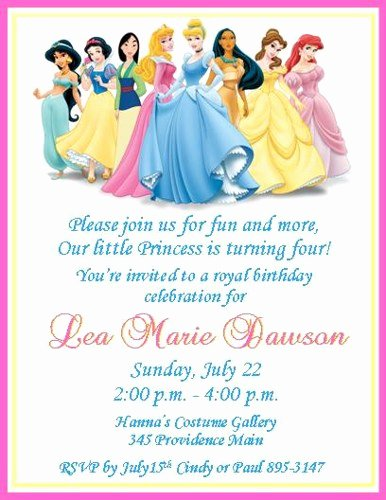 Disney Printable Birthday Cards Elegant Disney Princesses Personalized Birthday Invitations