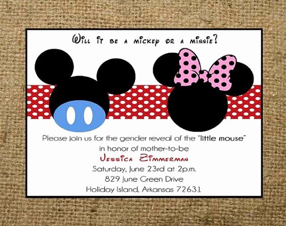 Disney Printable Birthday Cards Lovely Printable Mickey Mouse or Minnie Mouse Gender Reveal Baby