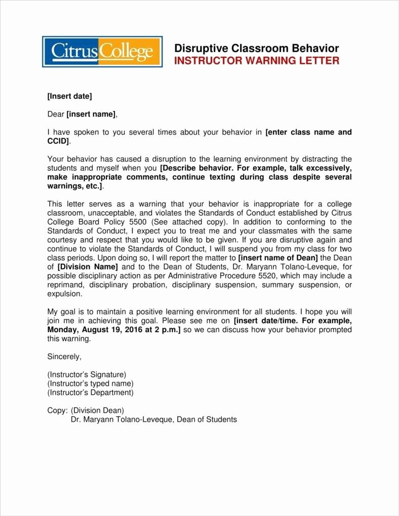 Disrespectful Employee Write Up Awesome 8 Student Warning Letter Templates Free Word Pdf format