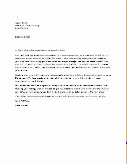 Disrespectful Employee Write Up Fresh Warning Letter for Unprofessional Behavior