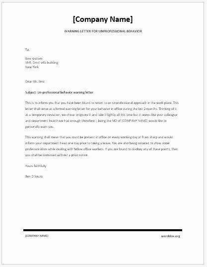 Disrespectful Employee Write Up Unique Warning Letter for Unprofessional Behavior