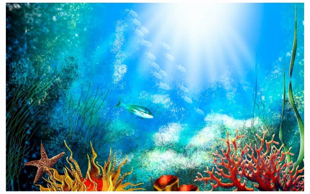 """Diy Aquarium Background Paper Beautiful Aquarium Background """"school Fish"""" Fish Tank Graphic"""