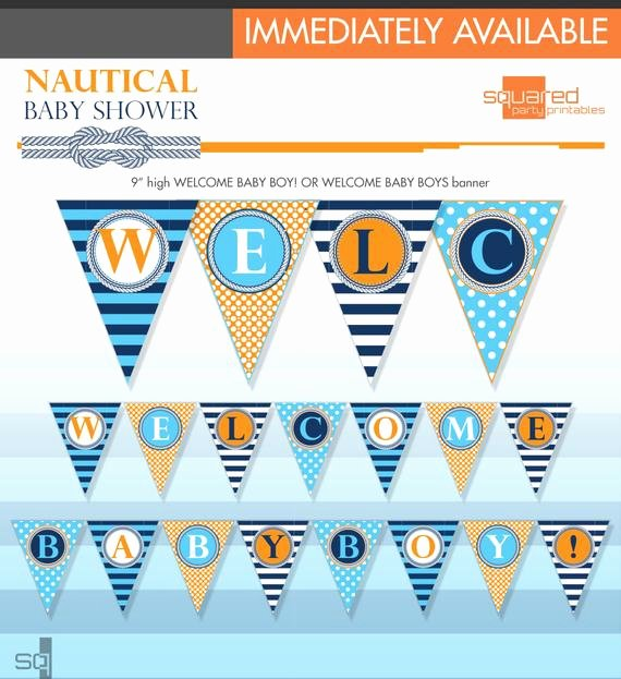Diy Baby Shower Banner Template Beautiful Nautical Baby Shower Banner Baby Whales Diy Print