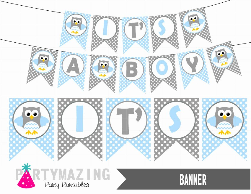 Diy Baby Shower Banner Template Lovely It S A Boy Owl Printable Banner Baby Blue Baby Shower