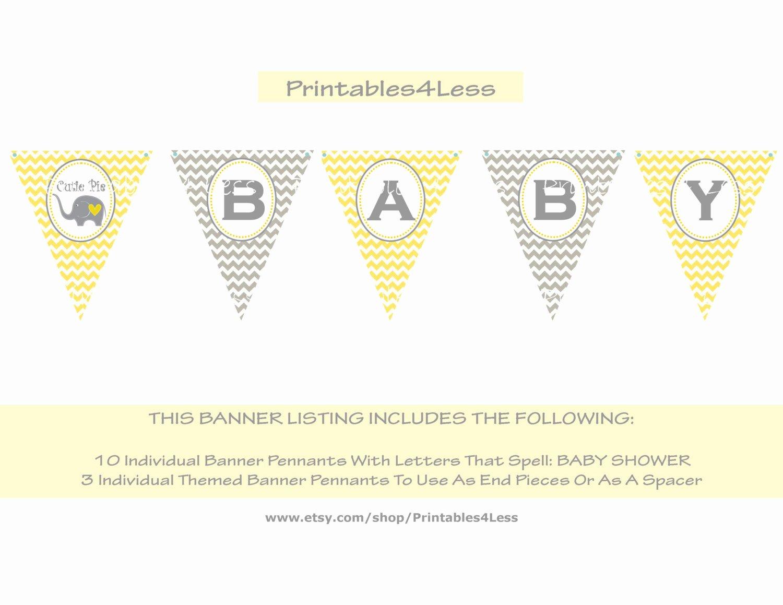 Diy Baby Shower Banner Template Luxury Diy Yellow Chevron Baby Shower Banner You Print Chevron