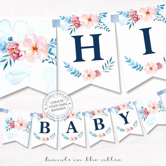 Diy Baby Shower Banner Template Luxury Printable Floral Banner Template Couples Baby Shower