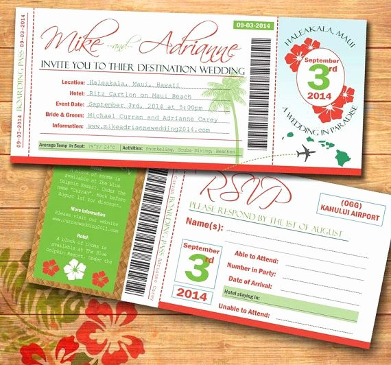 Diy Boarding Pass Invitations Elegant Diy Tropical Plane Ticket Wedding Invitation Print Your