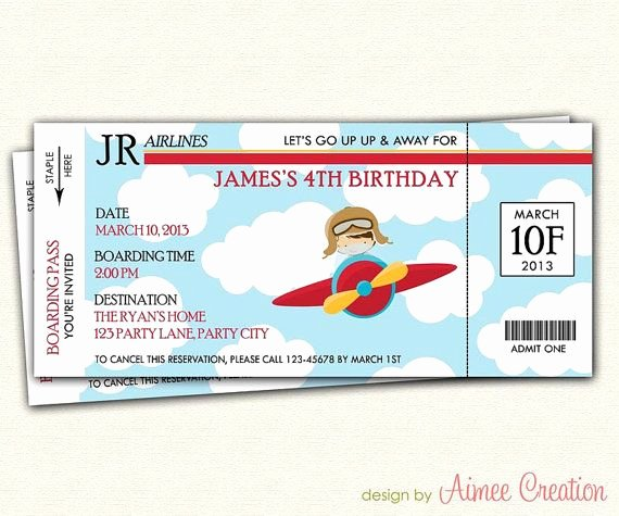 Diy Boarding Pass Invitations Fresh Airplane Ticket Boarding Pass Birthday Invitation