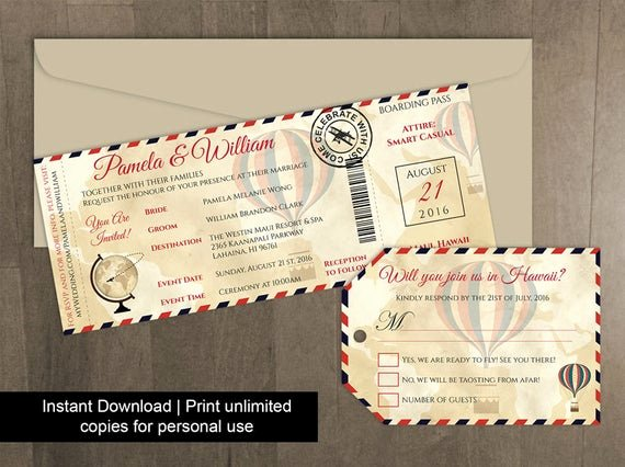 Diy Boarding Pass Invitations Fresh Diy Printable Wedding Boarding Pass Luggage Tag Template