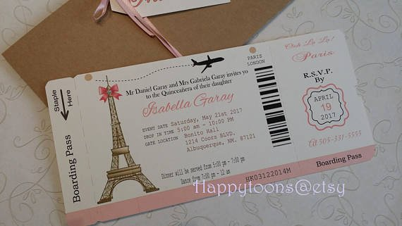 Diy Boarding Pass Invitations Fresh Paris Boarding Pass Invitation Diy Boarding Pass Invite