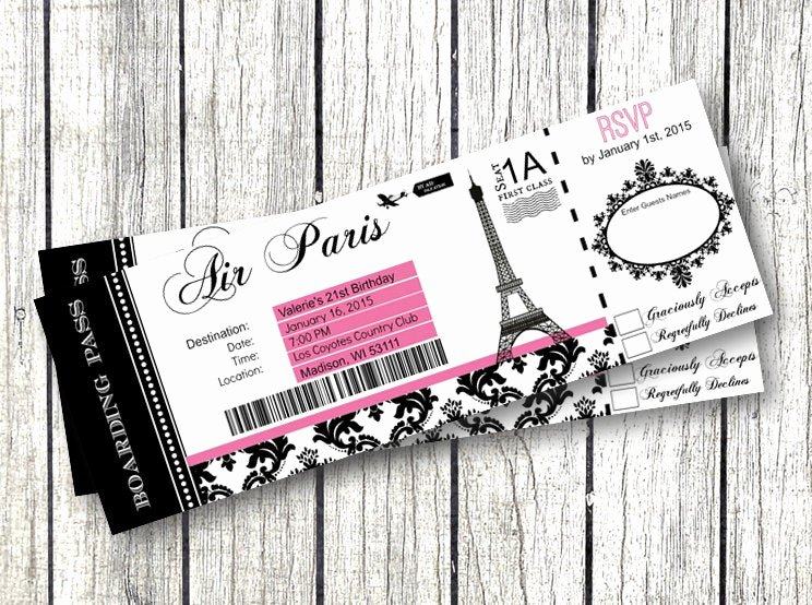 paris boarding pass invitation diy