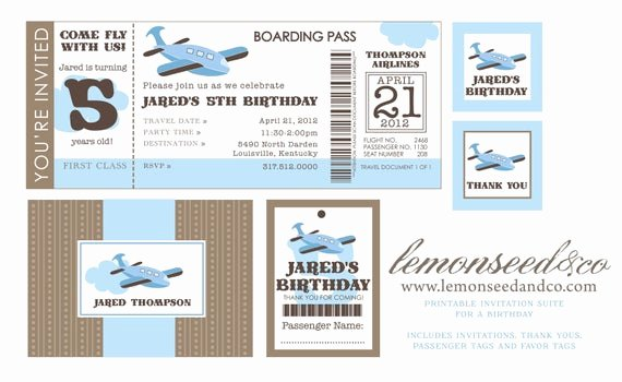 Diy Boarding Pass Invitations Lovely Items Similar to Printable Diy Airplane Birthday