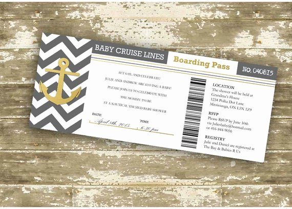 Diy Boarding Pass Invitations New Baby Shower Invitation Boarding Pass Invitation Cruise