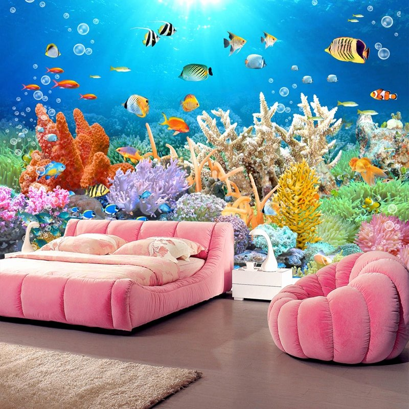 Diy Fish Tank Background Paper Awesome Aliexpress Buy Custom 3d Mural Coral Reef Fish Tank