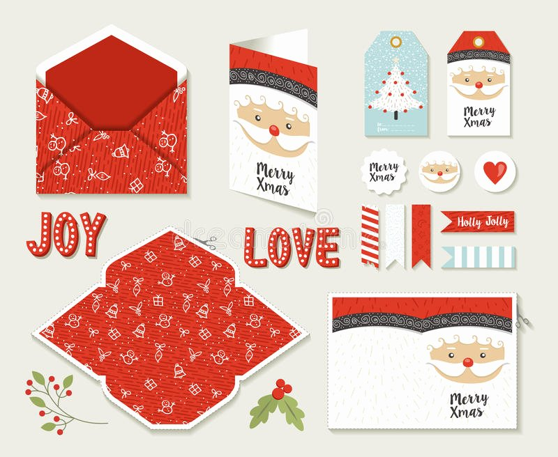 Diy Greeting Cards Template New Merry Christmas Set Printable Greeting Card Cute Stock