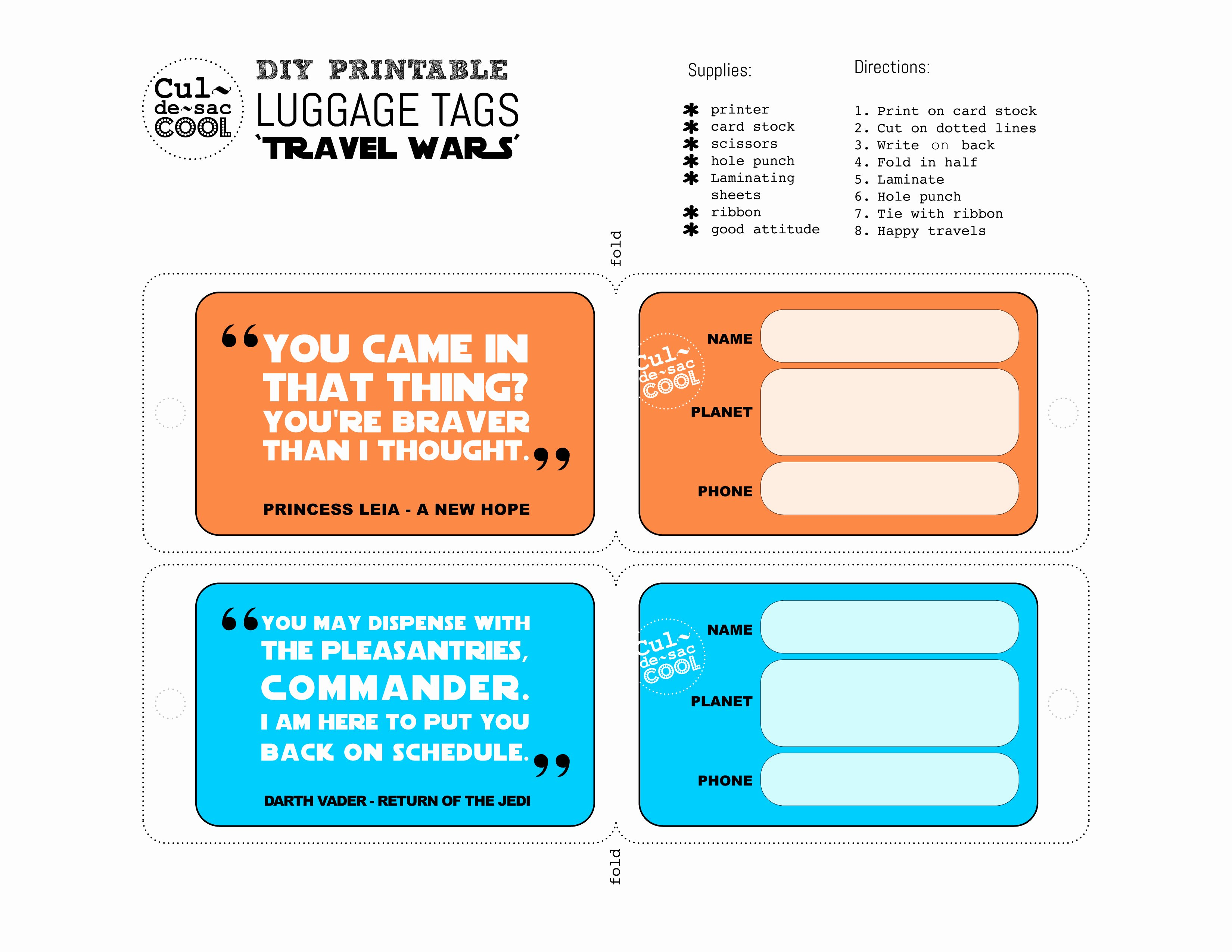 Diy Luggage Tags Template Beautiful Diy Printable Luggage Tags 'travel Wars'