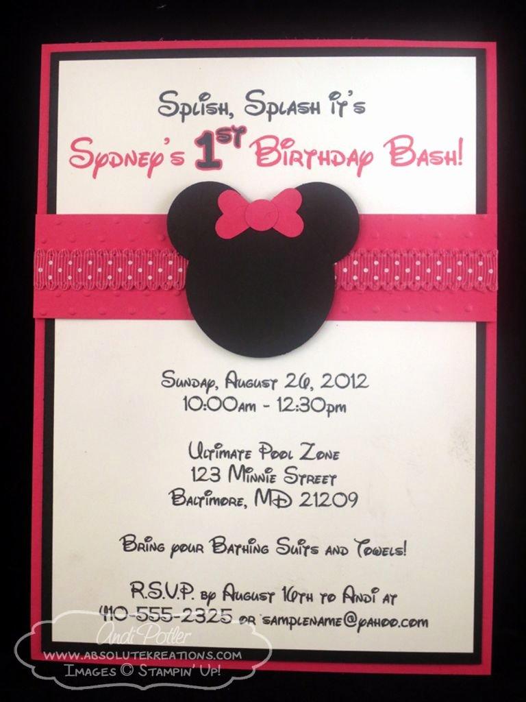 Diy Mickey Mouse Birthday Invitations Elegant andi Potler Independent Stampin Up Demonstrator