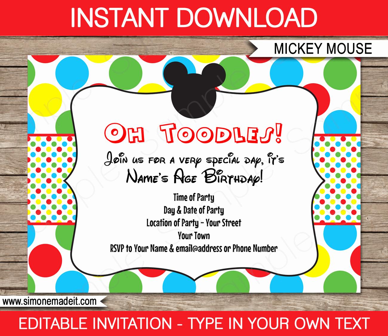 Diy Mickey Mouse Birthday Invitations Lovely Mickey Mouse Party Invitations Template