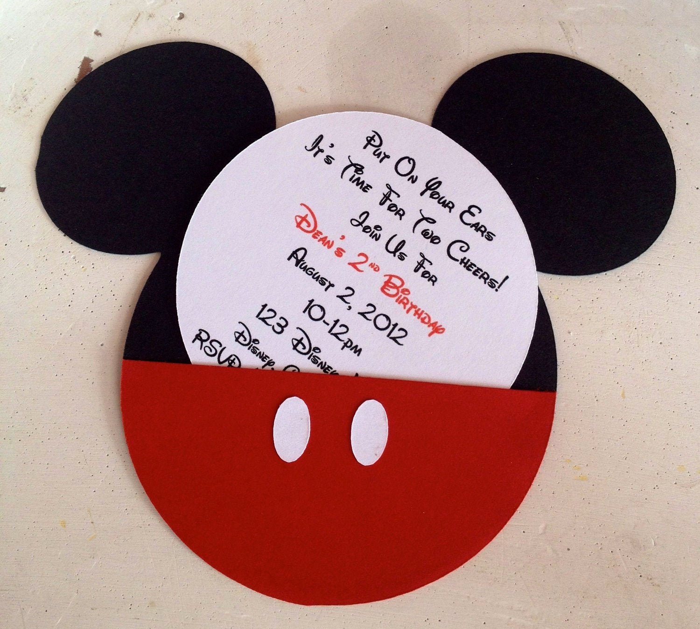 Diy Mickey Mouse Birthday Invitations Luxury Handmade Custom Red Mickey Mouse Birthday by Whimzycreations